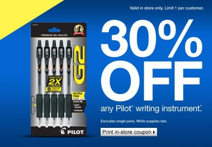 picture of 30% off Pilot In-Store Coupon - Staples