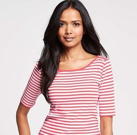 ANN-TAYLOR_Striped Shoulder Button Cotton Tee