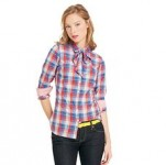 Tommy Hilfiger Women's Bow Front Check Shirt