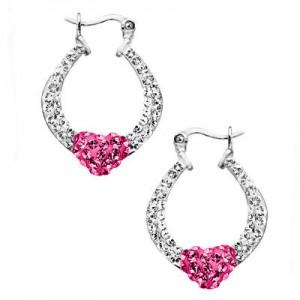 picture of Heart Hoop Earrings with Swarovski Crystal Deal