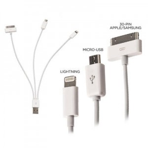 picture of 4 in 1 USB Cable for Smartphone (lightning cable, 30-pin, micro USB) Sale