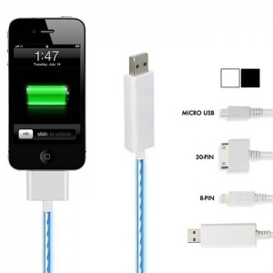 picture of LED Smart Charge and Sync Cable for iPhone, iPad, iPod, and Micro-USB