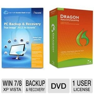 picture of Acronis True Image 2013 Backup Software and Dragon Speech Recognition Bundle Sale