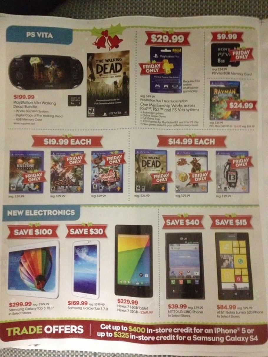 Gamestop Black Friday 2013 Ad