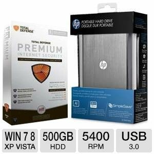 picture of $14.99 Total Defense Internet Security and HP 500GB HD