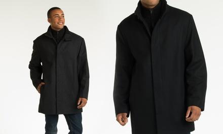 picture of Perry Ellis Men's Wool-Blend Button-Front Car Coat 78% Off