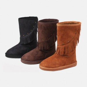 picture of Sunville Fringe Faux Suede Boots 60% Off