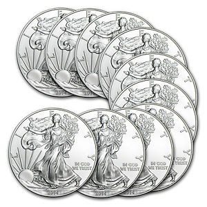 picture of 2014 1 oz Silver American Eagle (Lot of 10) Sale