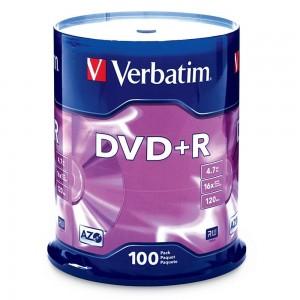 picture of Verbatim 4.7GB 16X DVD-R Media 100 Pack Sale