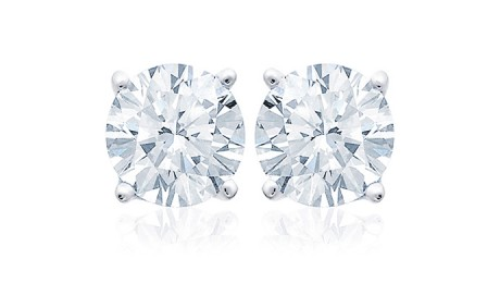 picture of Free 2-Ct White Topaz Sterling Silver Stud Earrings