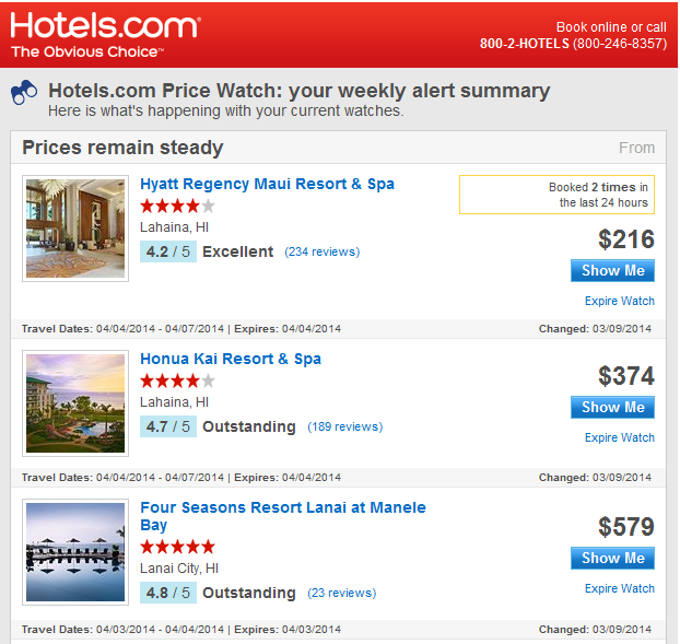 hotels.com price watch email