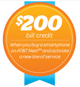 picture of AT&T Wireless $200 Bill Credit with new NEXT line
