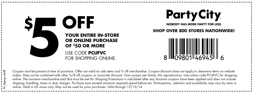 Party city in store coupons march 2018