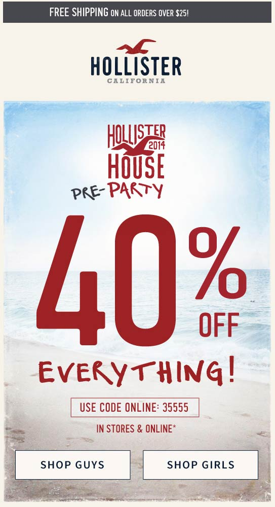 Hollister Co Free Shipping Policy. Standard shipping rates apply to all orders. Standard shipping typically takes between five and seven business days. Save more when you shop with verified Hollister Co free shipping code and coupons for December.