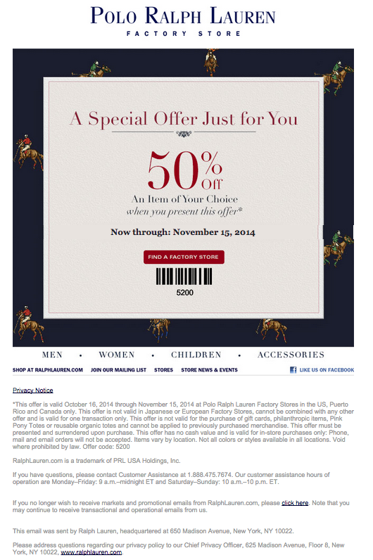 ralph lauren coupons promotions specials for october 2018. Black Bedroom Furniture Sets. Home Design Ideas