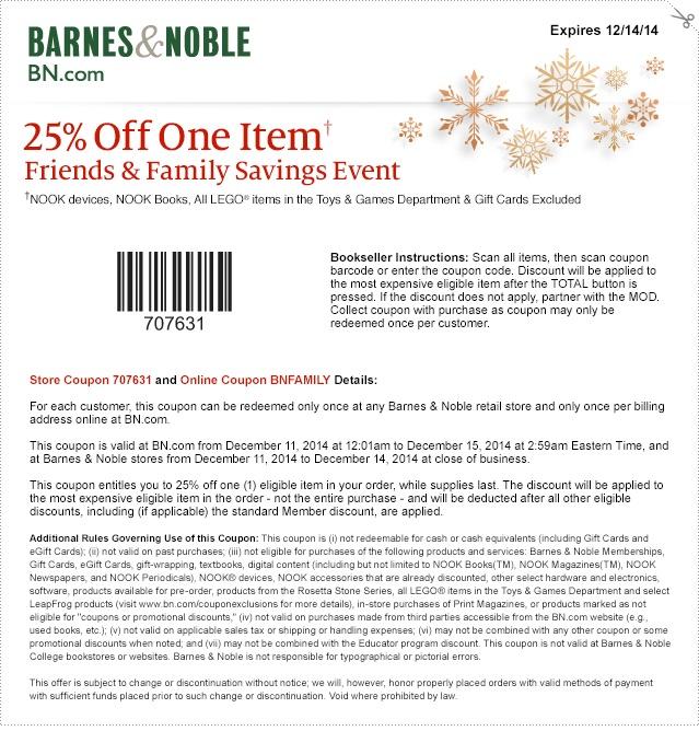 Barnes Noble Coupons Promotions Specials November 2020