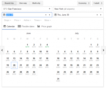 google flights calendar of ticket costs