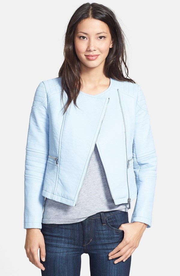 Vince Camuto - Collarless Faux Leather Jacket
