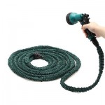 Flexible garden water hose with spray nozzle