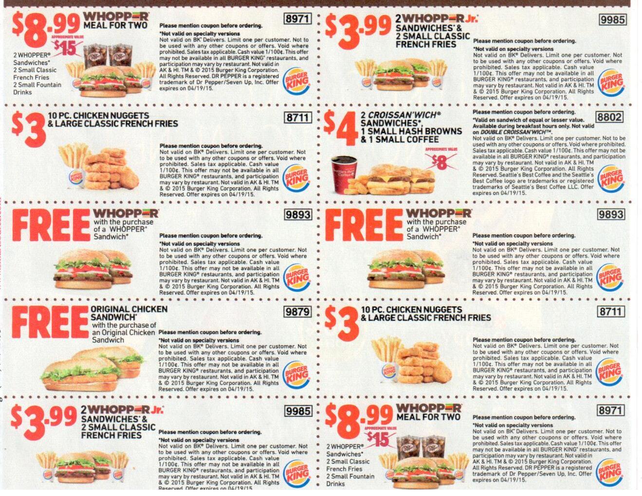 Burger king coupon codes 2018