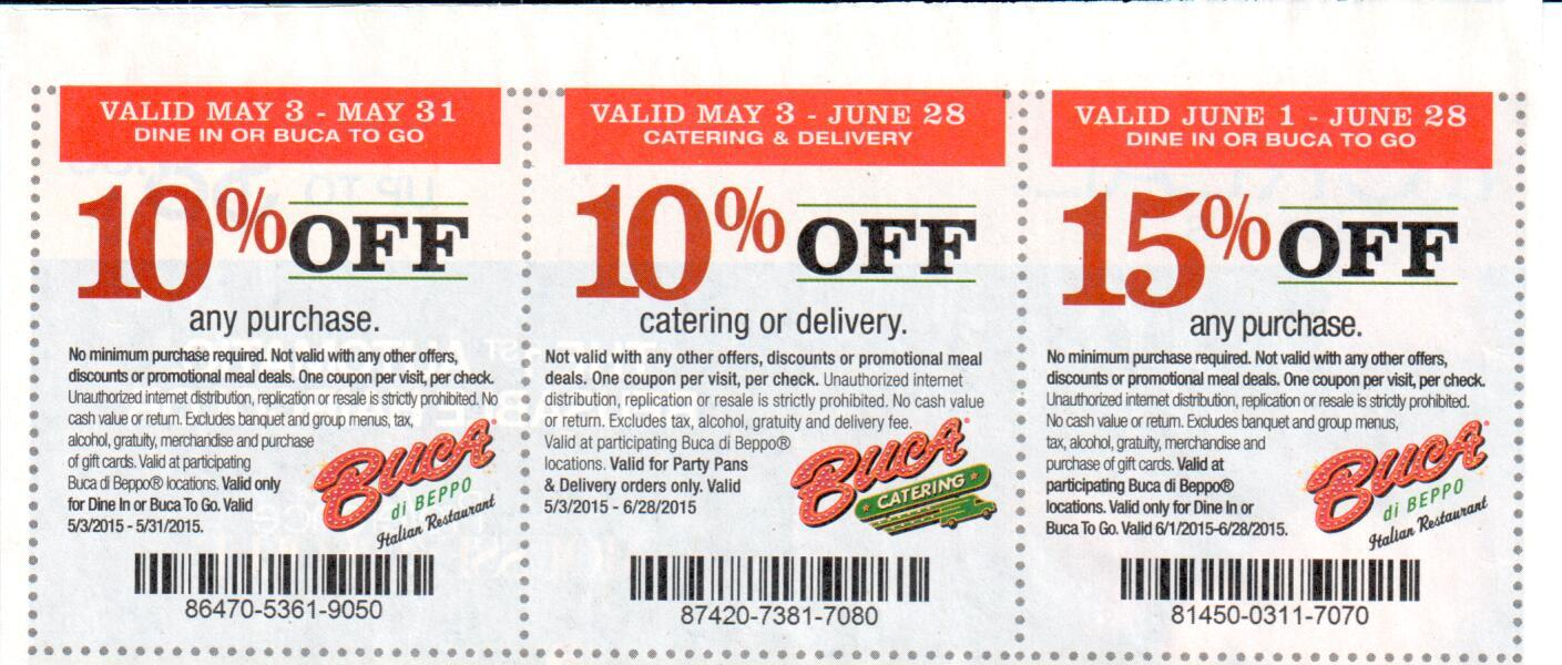 Buca di Beppo is offering a coupon that allows four adults to eat for $40, for a limited time. If you sign up for the eClub newsletter, you can receive a free appetizer or specialty bread on your next visit, as well as other special offers and coupons. Buca di Beppo also posts exclusive offers and 94%(17).