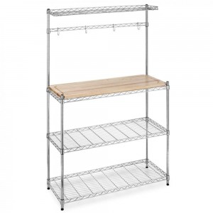 Chrome Bakers Rack with Cutting Board and Storage Kitchen Work Station Sale