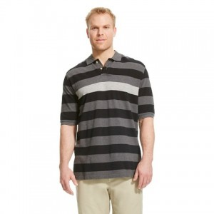 Men's Big & Tall Pique Polo Gray Stripe