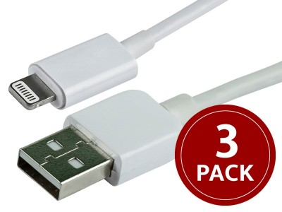 3 pack 3ft MFi Certified Lightning to USB Cable – iPad, iPhone, and iPod