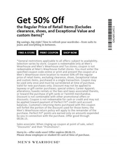 Mens Wearhouse Coupon