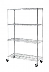 picture of Black/Chrome Commercial 4 Tier Adjustable Rack