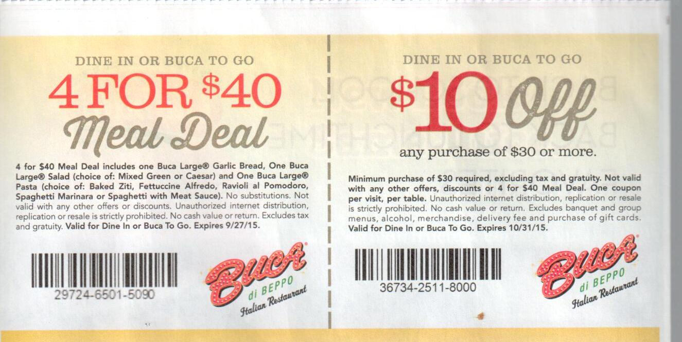 This is a graphic of Intrepid Buca Di Beppo Coupons 2020 Printable