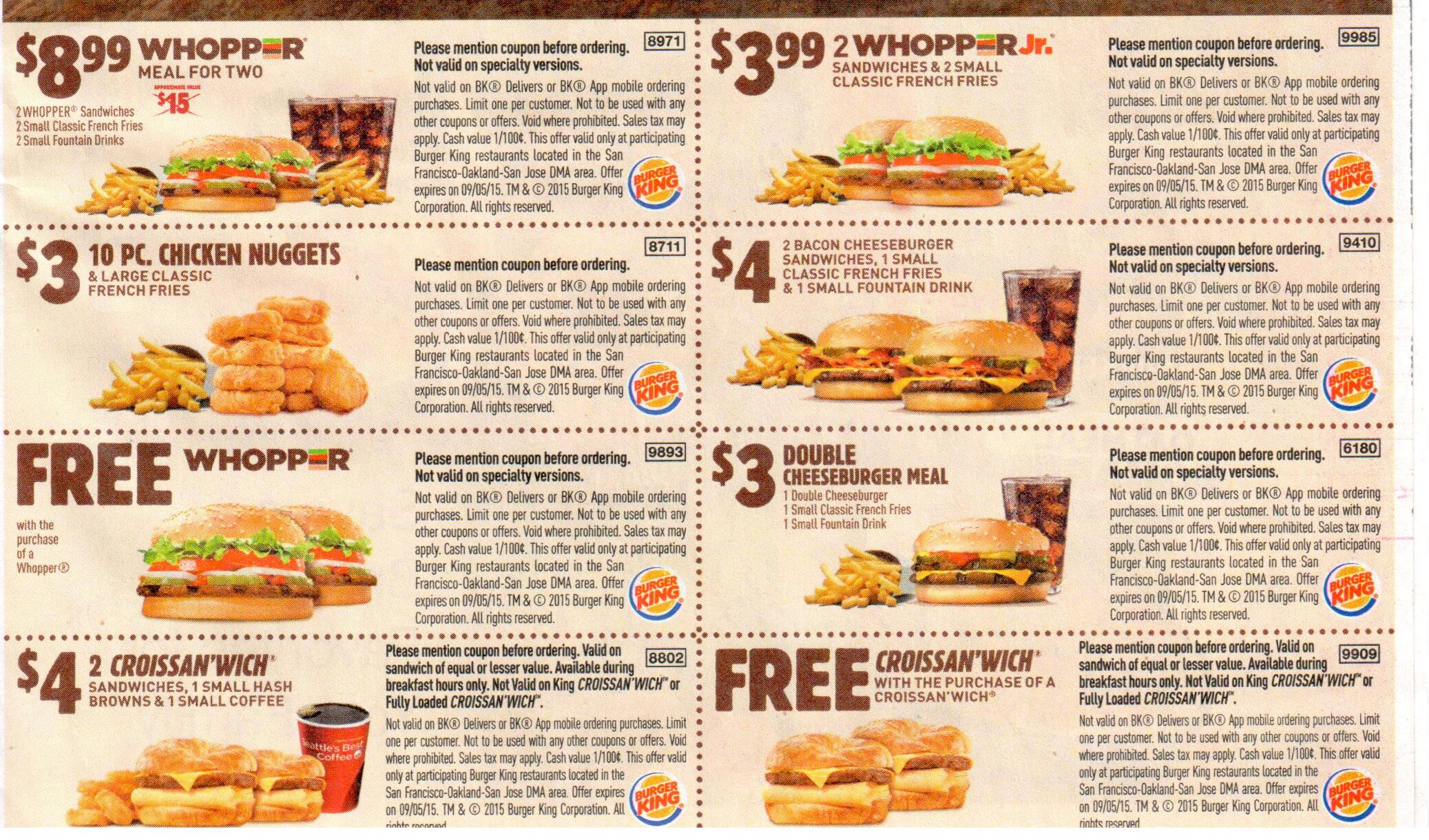 Burger king coupon codes 2018