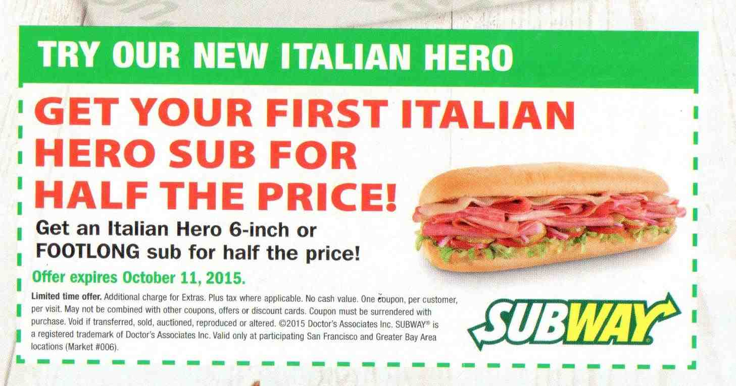 Subway discount coupon