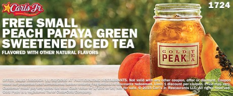 picture of Free Small Peach Papaya Green Sweetened Iced Tea