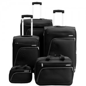 American Tourister Glider 5Pc Spinner Luggage Set Boarding & Toiletry Bag - Black