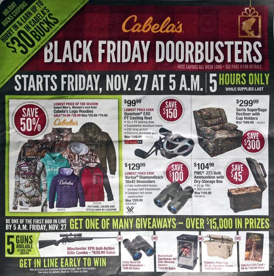 Cabelas – Black Friday Sale & Free Shipping. If you have an hunter, camper or fisherman on your shopping list, hurry over to Cabela's and check out their Black Friday sale.