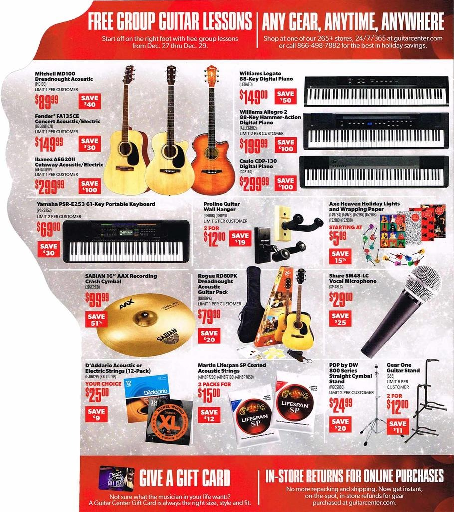 Hours: 11/26 Cyber Monday - Check back. Guitar Center is the world's largest retailer of musical instruments. It offers an impressive selection of amps, basses, DJ essentials, drums, guitars, keyboards, microphones, recording products, sound systems, lighting, and workstations.