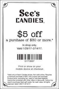 picture of Sees Candies $5 off $35 In Store Coupon