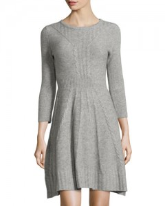 Cashmere 34-Sleeve Sweater Dress, Heather Gray