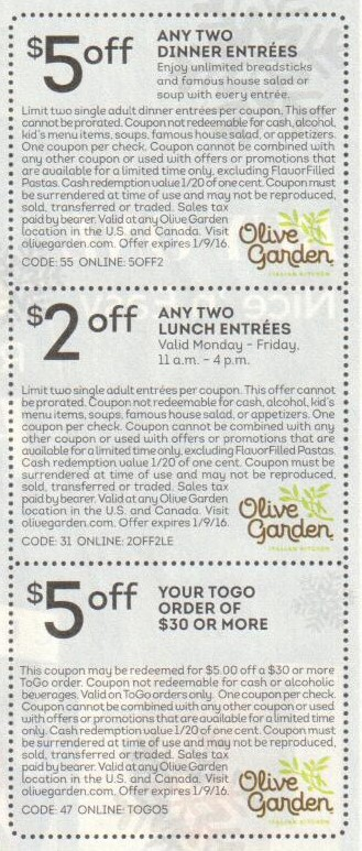 Olive garden specials and coupons