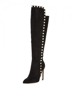 Mira Studded Suede Boot, Black