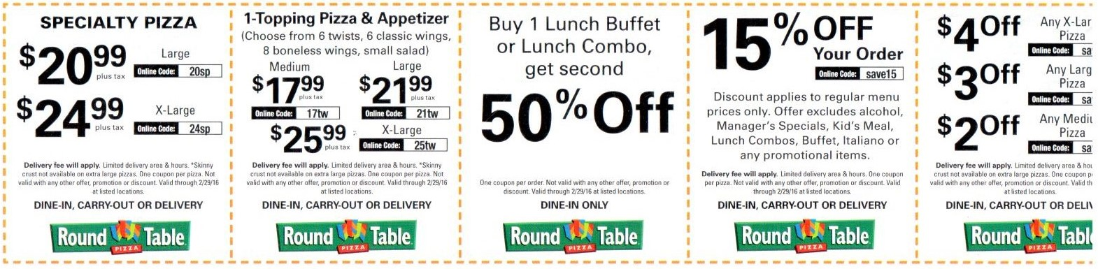 Round Table Pizza Coupons 2016