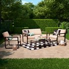Evo 4-Piece Oversized Padded Sling Patio Set