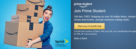picture of Amazon Student Free 6 Month Prime
