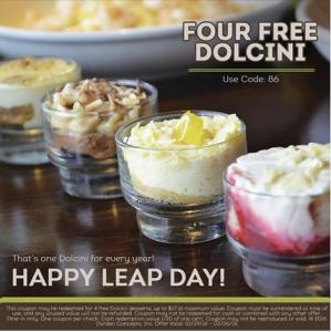 Olive Garden 4 free Dolcini Desserts