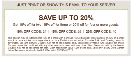 Up To 20 Off At Olive Garden Buyvia