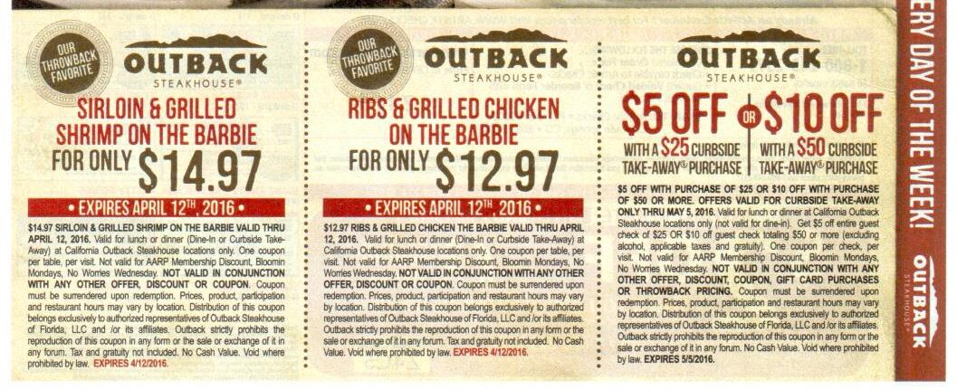 Outback steakhouse discount coupons