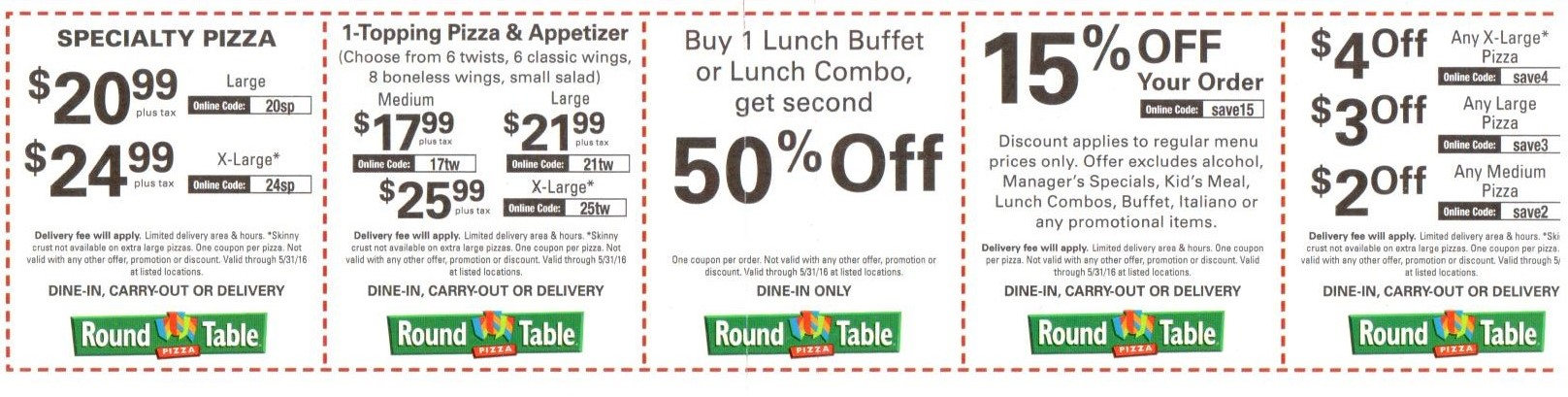 Round table discount coupons