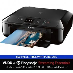 Canon PIXMA MG5720 All in One Printer plus $30 Vudu/Rhapsody Credit Sale