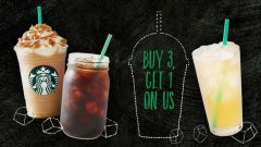 Starbucks Buy 3 Beverages, Get 1 Free
